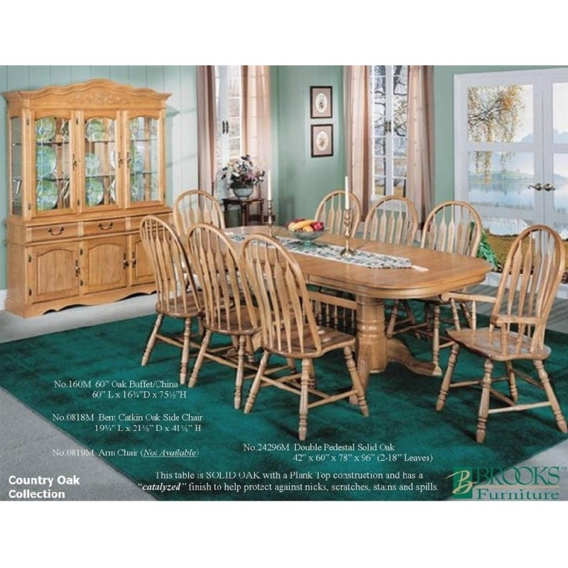 Country Oak Double Pedestal Solid Oak Dining Table By Brooks